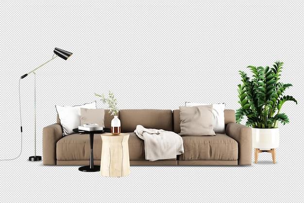 Vista frontale del divano e della pianta nel rendering 3d