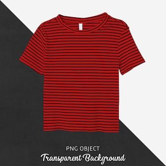 Vista frontale del mockup di t-shirt rossa a strisce