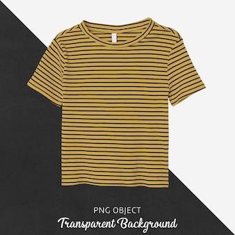 Mockup di t-shirt gialla a righe vista frontale