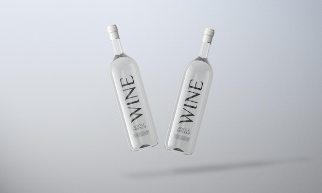 Design mockup bottiglia di vino bianco vista frontale isolato