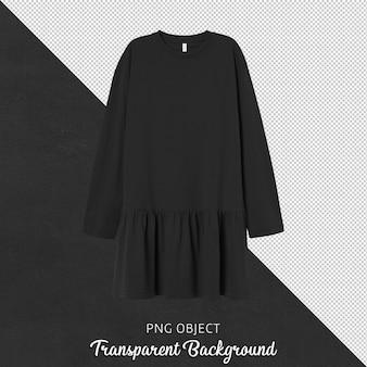 Vista frontale della donna vestito nero isolato