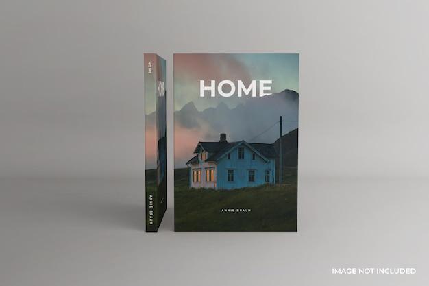 Viste frontali del mockup del libro con copertina morbida in piedi