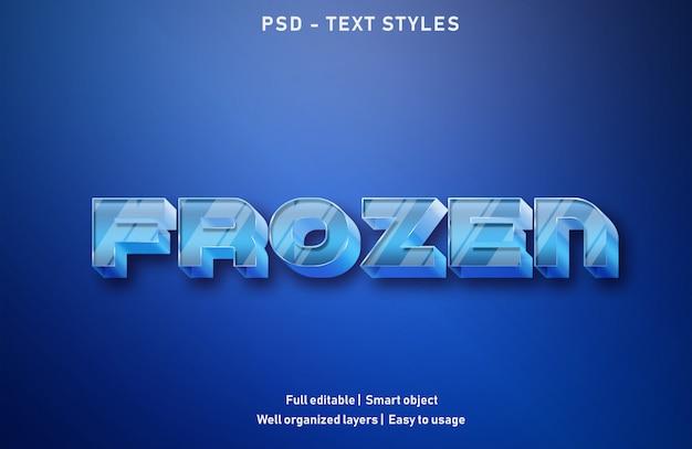 Stile di effetti di testo congelato modificabile psd