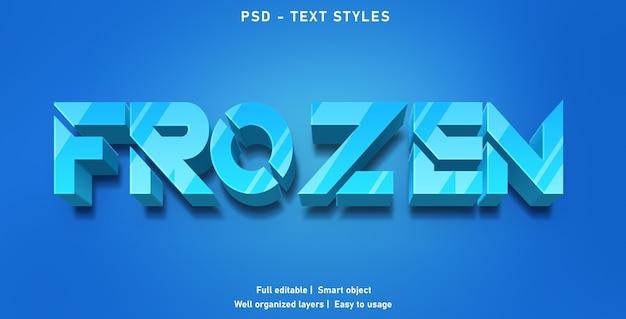 Modello di stile di effetti di testo congelato Psd Premium
