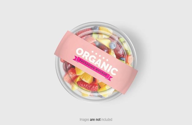 Mockup di scatola di insalata di frutta con etichetta di copertina di carta