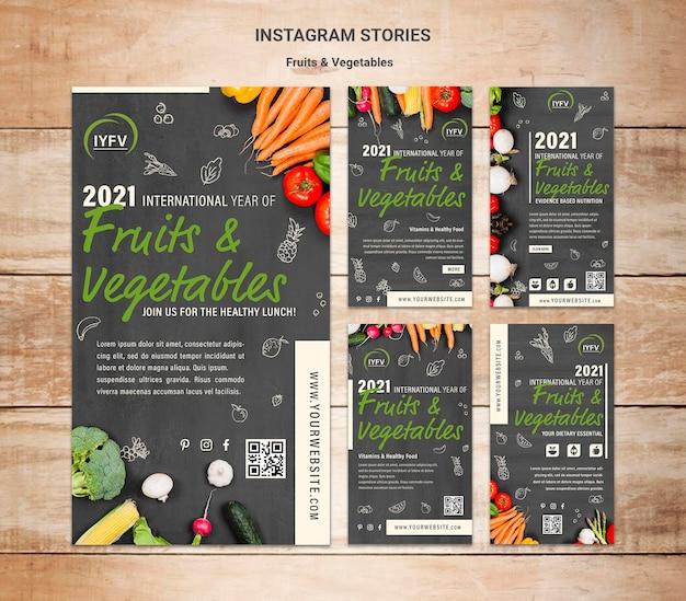 Modello di storie di instagram anno di frutta e verdura
