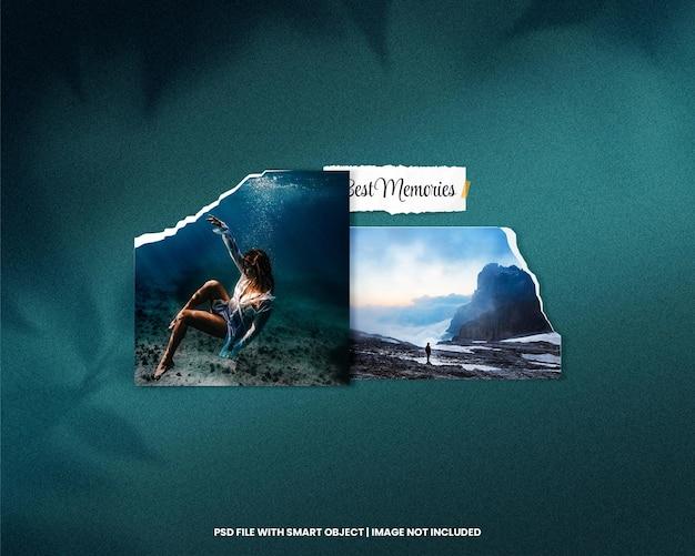 Mockup polaroid full frame con effetto strappato psd premium