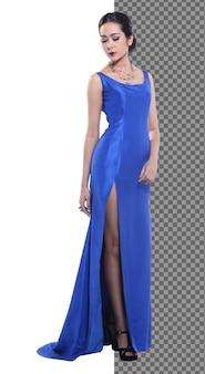 Figura intera 20s giovane donna asiatica in abito da sera di seta blu abito da ballo scarpe tacchi alti isolati, bella ragazza ha elegante stand a piedi felice sorriso forte su sfondo bianco