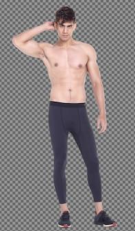Corpo intero 20s caucasico i capelli neri dell'uomo indossano pantaloni sportivi in topless e stanno in piedi, isolati. la condizione maschile muscolare della pelle abbronzata non mostra maglietta con la forma fisica dell'atleta del muscolo, fondo bianco