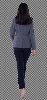 Vista posteriore della parte posteriore del corpo integrale, anni '20 asian business woman intelligente in pantaloni tuta blazzer grigi, isolati. la ragazza con la pelle abbronzata ha i capelli neri lunghi e lisci che camminano all'indietro su uno studio di sfondo bianco