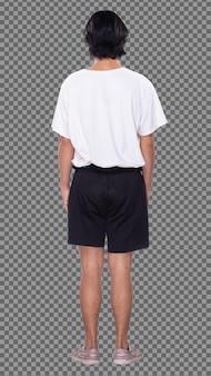 Figura intera del corpo di 20s uomo asiatico capelli neri camicia bianca scarpe da ginnastica pantalone corto, profilo stand. il maschio si alza e gira la vista posteriore sul lato anteriore su sfondo bianco isolato