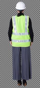 Figura intera di 40s 50s asiatica lgbtqia+ donna ingegnere cliente indossare elmetto di sicurezza tuta. la femmina sta in piedi magra e intelligente e gira la vista posteriore anteriore su sfondo bianco isolato
