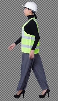 Figura intera di 40s 50s asiatica lgbtqia+ donna ingegnere cliente indossare elmetto di sicurezza tuta. la femmina cammina magra in modo intelligente e gira a sinistra a destra vista su sfondo bianco isolato