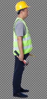 Figura intera di anni '50 anni '60 uomo anziano asiatico ingegnere indossa gli strumenti del casco di sicurezza del giubbotto di sicurezza, isolati. il maschio anziano si alza e gira di 360 intorno alla vista posteriore del lato posteriore su sfondo bianco
