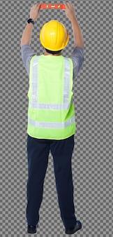Figura intera degli anni '50 uomo anziano asiatico l'ingegnere indossa gli strumenti del casco del giubbotto di sicurezza, livello di equilibrio. vista posteriore posteriore linea di equilibrio maschile senior con attrezzatura livella a bolla su sfondo bianco isolato
