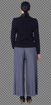 Figura intera degli anni '40 e '50 asiatiche lgbtqia+ pantaloni e scarpe da donna per capelli neri. la femmina si alza e gira la vista posteriore anteriore su sfondo bianco isolato