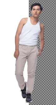 Adolescente integrale 15s 20s asian boy indossare abito gilet e pantaloni jeans sneaker, isolato. uomo magro e sano in piedi e guarda fiducioso alla macchina fotografica, capelli neri corti, sfondo bianco da studio