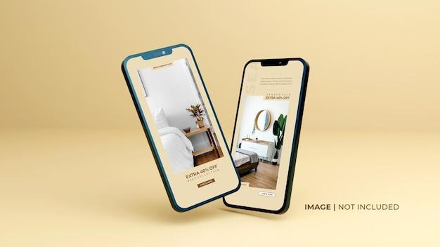 Mockup-design-mockup-smartphone-nero-schermo intero-con-modello-di-presentazione-app-mobile