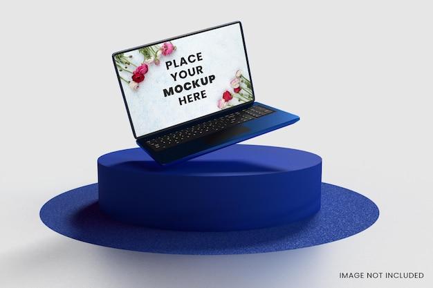 Design mockup per laptop a schermo intero e podio moderno