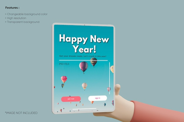 Mockup di argilla tablet a schermo intero con cartone animato 3d a mano