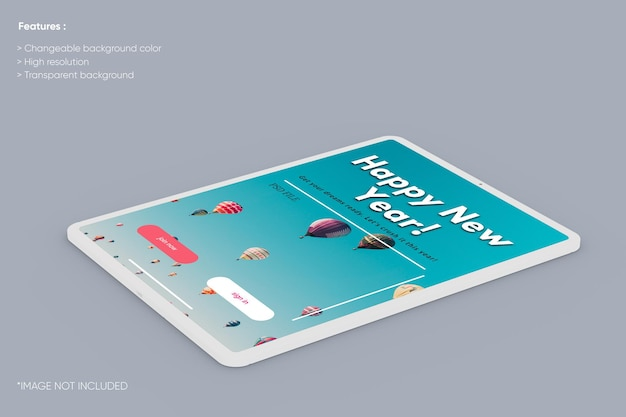 Mockup di argilla per tablet a schermo intero