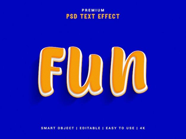 Fun psd text effect, modello realistico 3d, stile del testo.