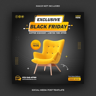 Funiture black friday vendita social media post template