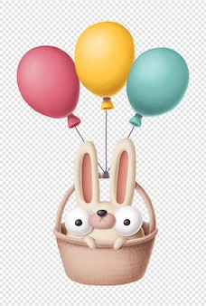 Coniglietto divertente con mongolfiere