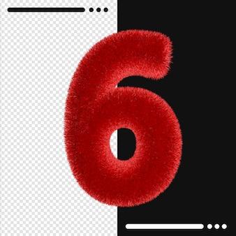 Pelliccia e numero 6 rendering 3d isolato