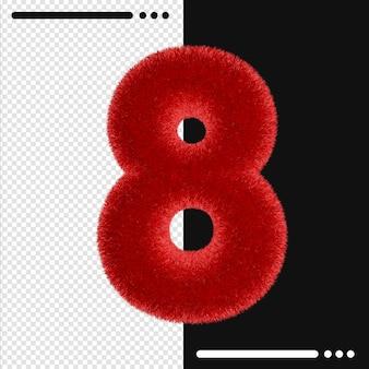 Pelliccia e numero 8 rendering 3d isolato