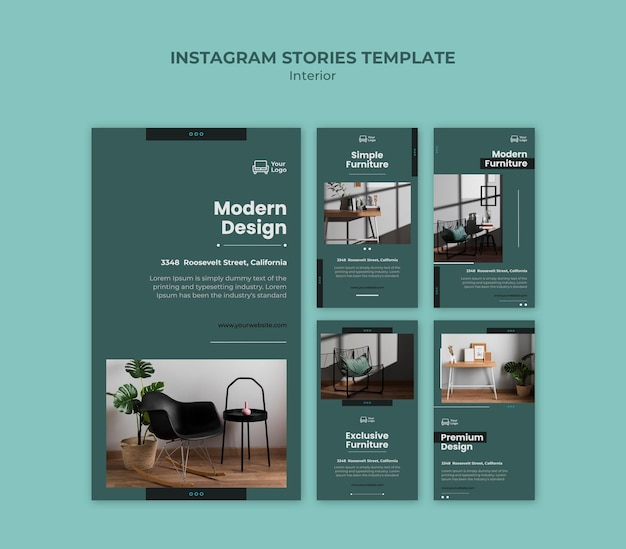 Modello di storie di instagram di concetto di mobili