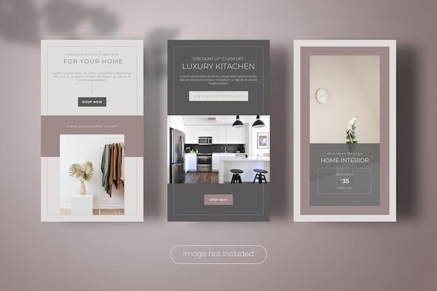 Collezione di banner modello di storie di instagram di design di mobili