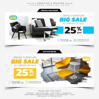 Banner di copertura della timeline di facebook vendita di mobili