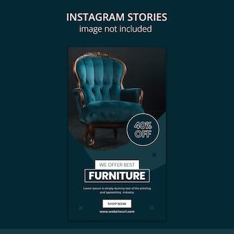 Modello di storie di instagram di social media di vendita di mobili.