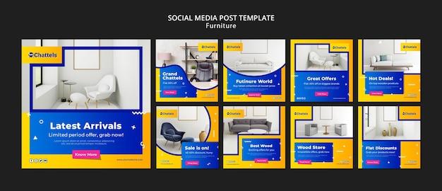 Modello di post sui social media di vendita di mobili