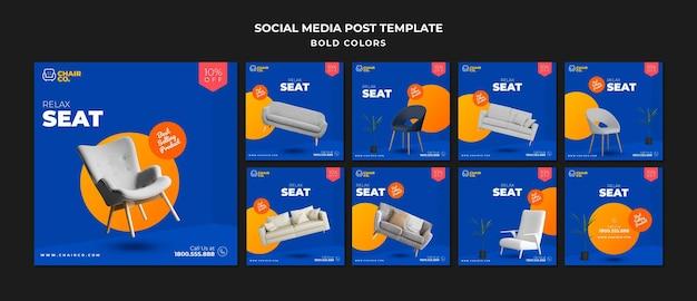 Modello di post sui social media del negozio di mobili