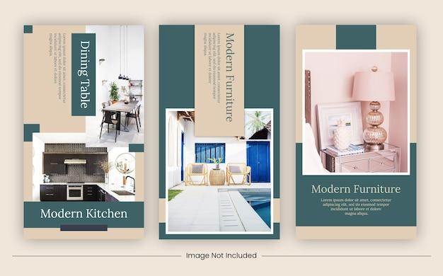 Banner di strories di social media modello di mobili
