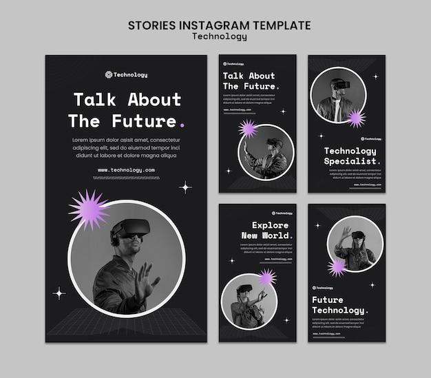 Modello di storie di instagram di tecnologia futura