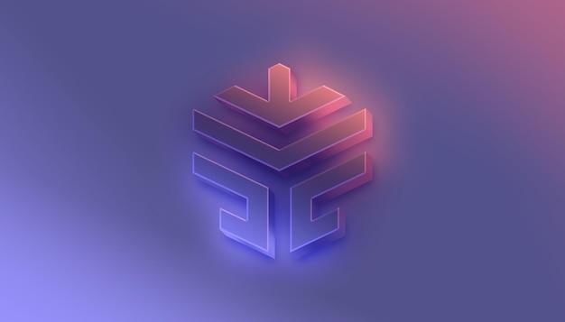 Futuristico 3d flow logo mockup