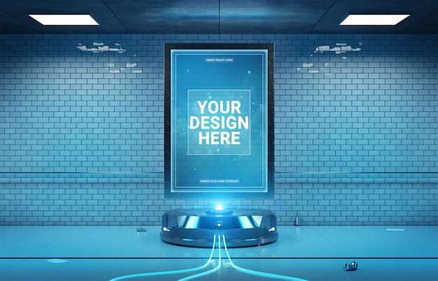 Tabellone per le affissioni futuristico nel modello sporco della stazione della metropolitana sotterranea