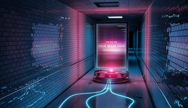 Tabellone per le affissioni futuristico nel modello sporco della stazione della metropolitana sotterranea Psd Premium