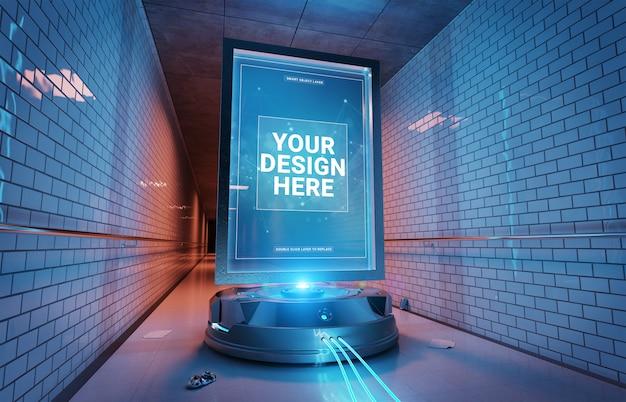 Cartellone futuristico nel tunnel sotterraneo mockup