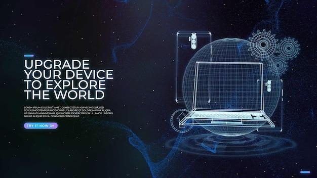 Design futuristico con dispositivo di aggiornamento hologram