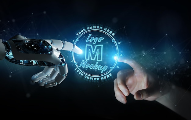 Logo futuristico con robot e mani umane mockup