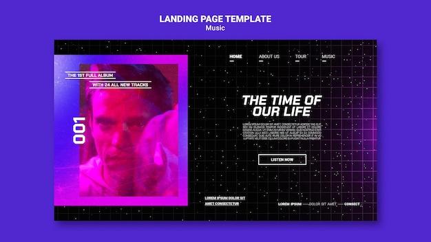 Modello di pagina di destinazione di musica futuristica