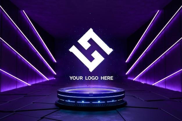 Piedistallo futuristico per logo mockup