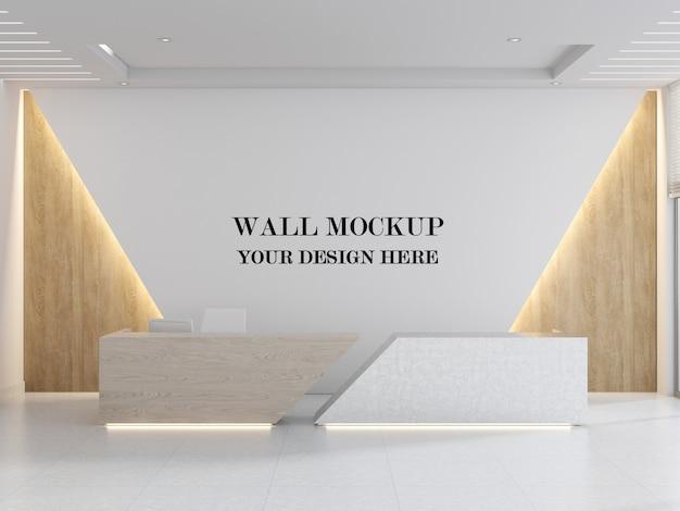 Mockup di parete della reception futuristica