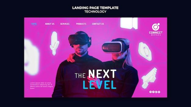 Modello futuristico di pagina di destinazione della realtà virtuale