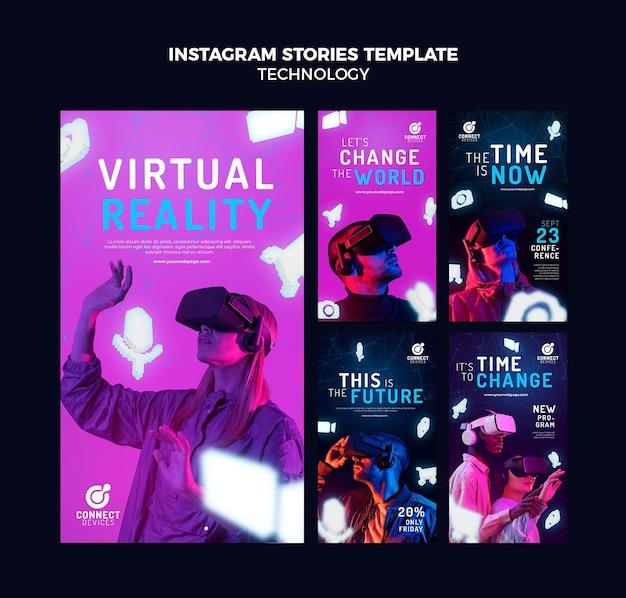 Storie di social media futuristiche in realtà virtuale