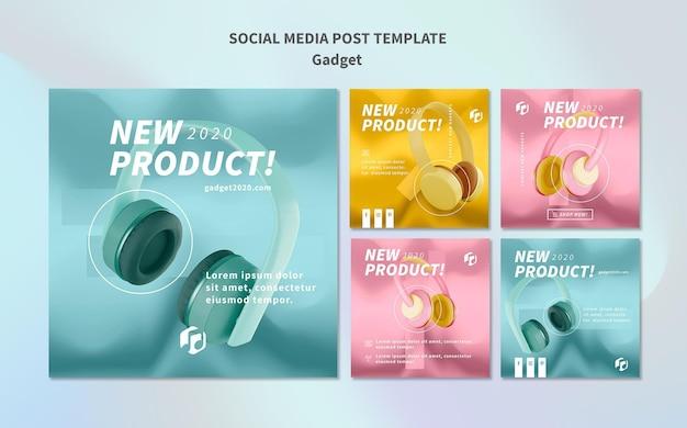 Modello di gadget social media post modello